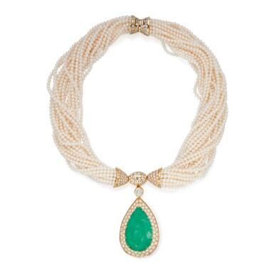EMERALD, CULTURED PEARL AND DIAMOND PENDANT-NECKLACE