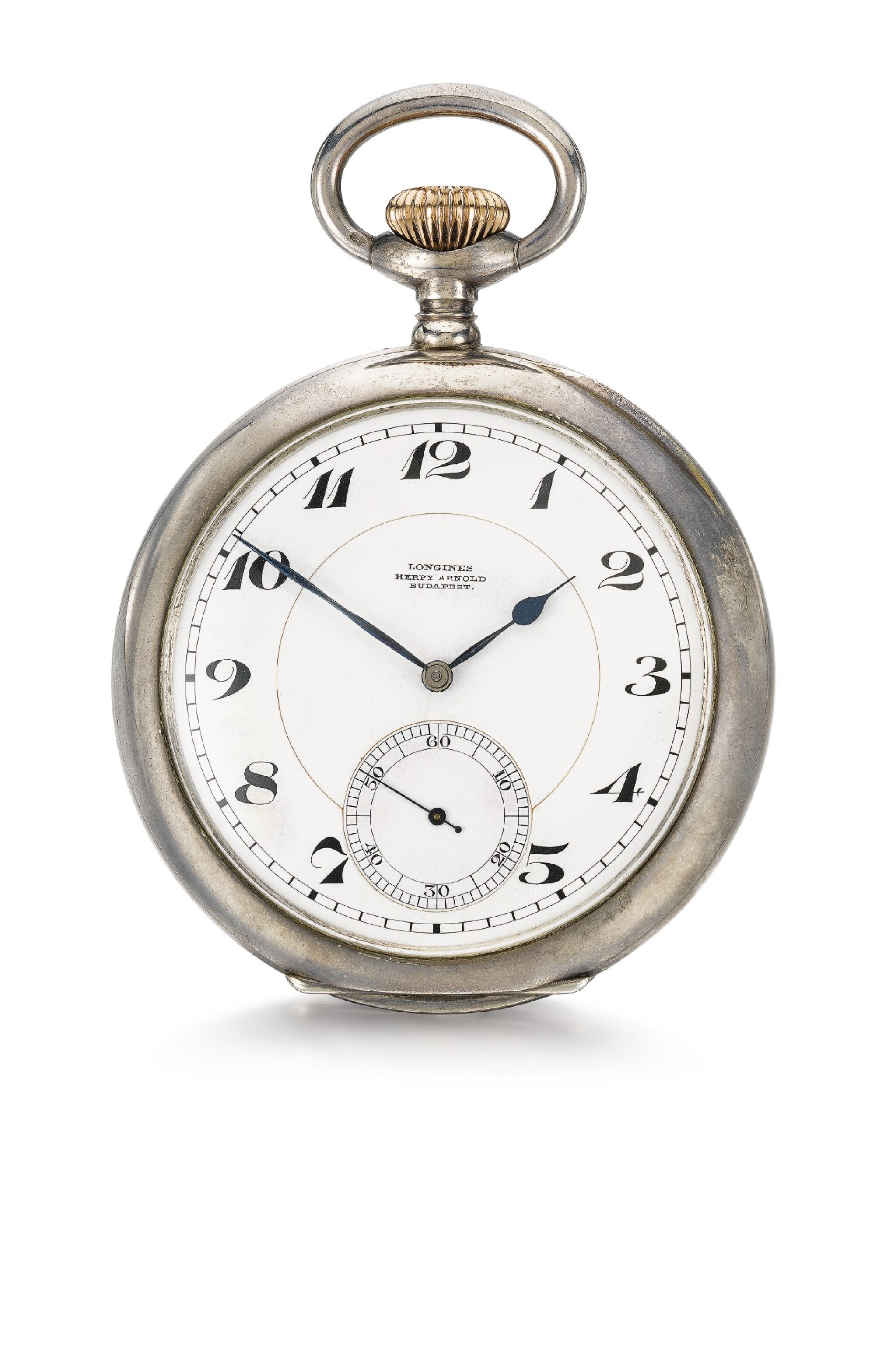 View full screen - View 1 of Lot 623. A LARGE AND EXCEPTIONALLY RARE SILVER OPEN-FACED KEYLESS WATCH THE LONGINES MOVEMENT LATER MODIFIED TO INCORPORATE A ONE MINUTE FLYING TOURBILLON WITH SPRING DETENT CHRONOMETER ESCAPEMENT ORIGINALLY RETAILED BY HERPY ARNOLD, BUDAPEST, 1925, NO.4190747 [ 罕有大型銀懷錶,浪琴機芯加裝一分鐘飛行陀飛輪連彈簧鎖止式天文鐘擒縱系統 ,原零售商為布達佩斯HERPY ARNOLD,年份約1925,編號4190747].