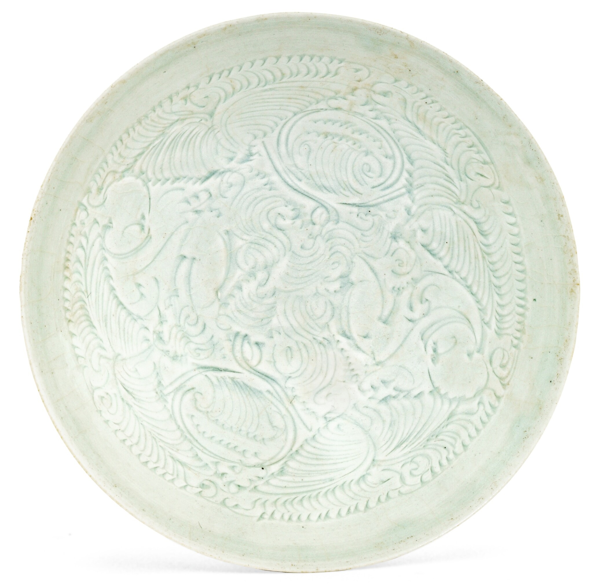 View full screen - View 1 of Lot 2. COUPE EN CÉRAMIQUE QINGBAI DYNASTIE SONG DU SUD | 南宋 青白釉刻嬰戲蓮紋盌 | A Qingbai carved 'Boys' bowl, Southern Song Dynasty.