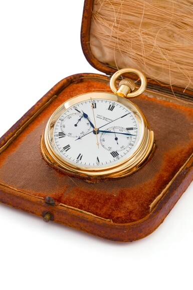 View 1. Thumbnail of Lot 85. AN IMPRESSIVE AND EXCEPTIONAL LARGE YELLOW GOLD OPEN-FACED MINUTE REPEATING SPLIT-SECOND CHRONOGRAPH WATCH WITH ONE MINUTE TOURBILLON AND 60-MINUTE REGISTER, 1931, SOLD TO J.P. MORGAN JR. IN 1933.