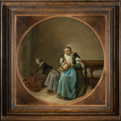 DIRCK HALS | A MOTHER SEARCHING HER CHILDREN FOR NITS, A CHILD STOKING A FIRE TO THE LEFT
