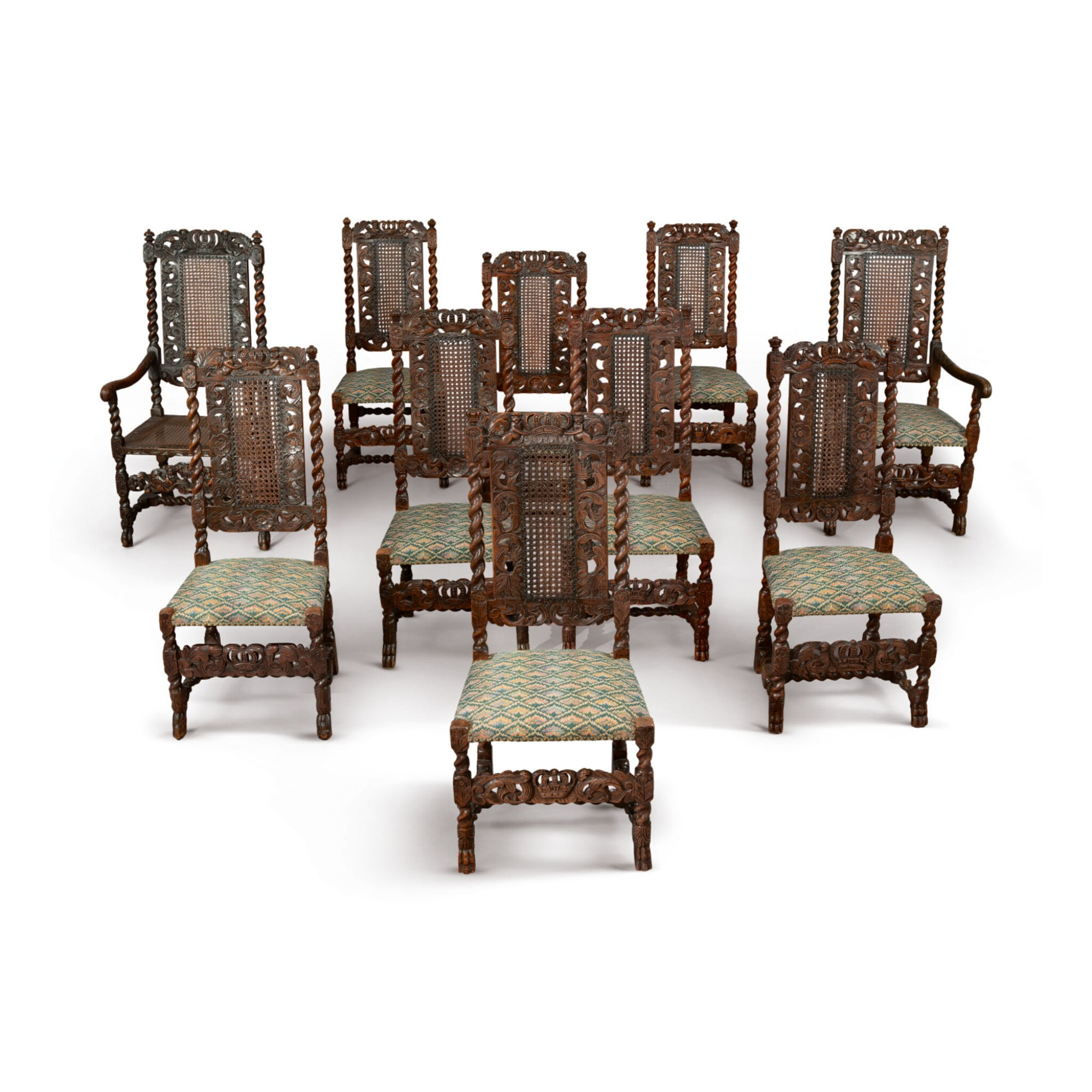 View full screen - View 1 of Lot 508. AN ASSEMBLED SET OF TEN WILLIAM AND MARY CARVED AND TURNED CANED WALNUT CHAIRS, LATE 17TH CENTURY.