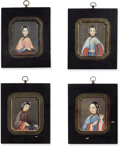 FOUR PORTRAITS OF CHINESE LADIES | QING DYNASTY, JIAQING/ DAOGUANG PERIOD, CIRCA 1820 | 清嘉慶/道光 約1820年 美人圖四件