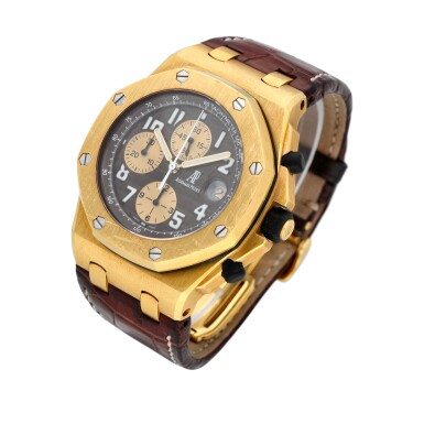 """View 2. Thumbnail of Lot 38. Royal Oak Offshore Chronograph """"Arnold Schwarzenegger"""" reference 26007BA.OO.D088CR.01 A 18k yellow gold automatic chronograph wristwatch with date, circa 2004."""