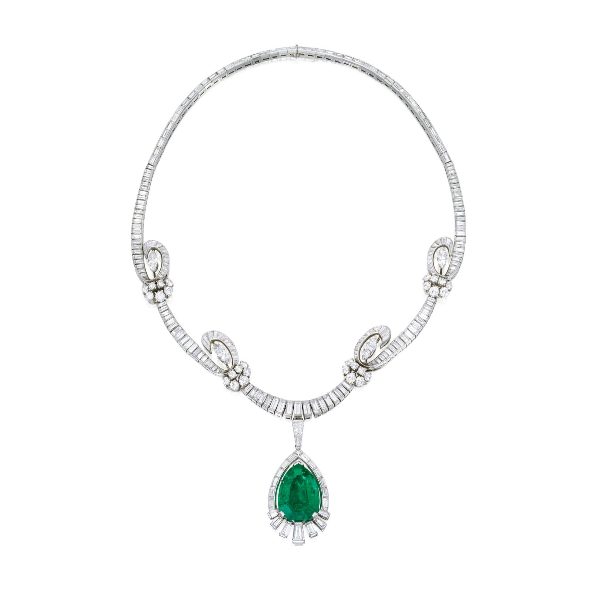 View full screen - View 1 of Lot 459. EMERALD AND DIAMOND PENDANT-NECKLACE, OSCAR HEYMAN & BROTHERS | 祖母綠配鑽石吊墜項鏈,Oscar Heyman & Brothers.