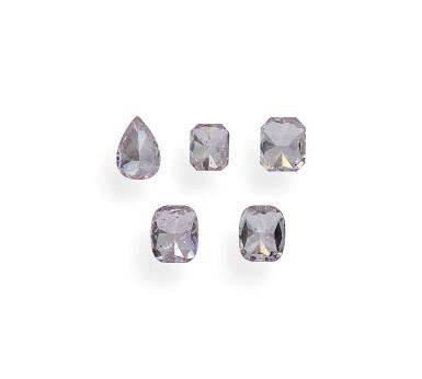 View 9. Thumbnail of Lot 7. A Group of Five Fancy Purplish Pink and Fancy Purple-Pink Diamonds.