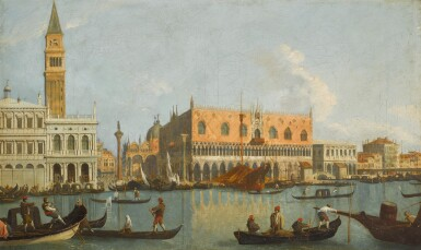 View 1. Thumbnail of Lot 180. FOLLOWER OF GIOVANNI ANTONIO CANAL, CALLED IL CANALETTO | Venice, a view of the Bacino Di San Marco, looking east, with the Zecca, the Liberia, the Piazzetta and the Palazzo Ducale.