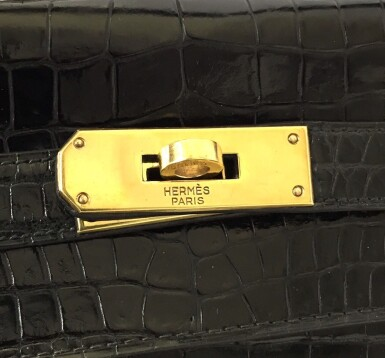 View 17. Thumbnail of Lot 743. HERMÈS | BLACK KELLY 28 IN SHINY CROCODILE WITH GOLD HARDWARE, 1962.