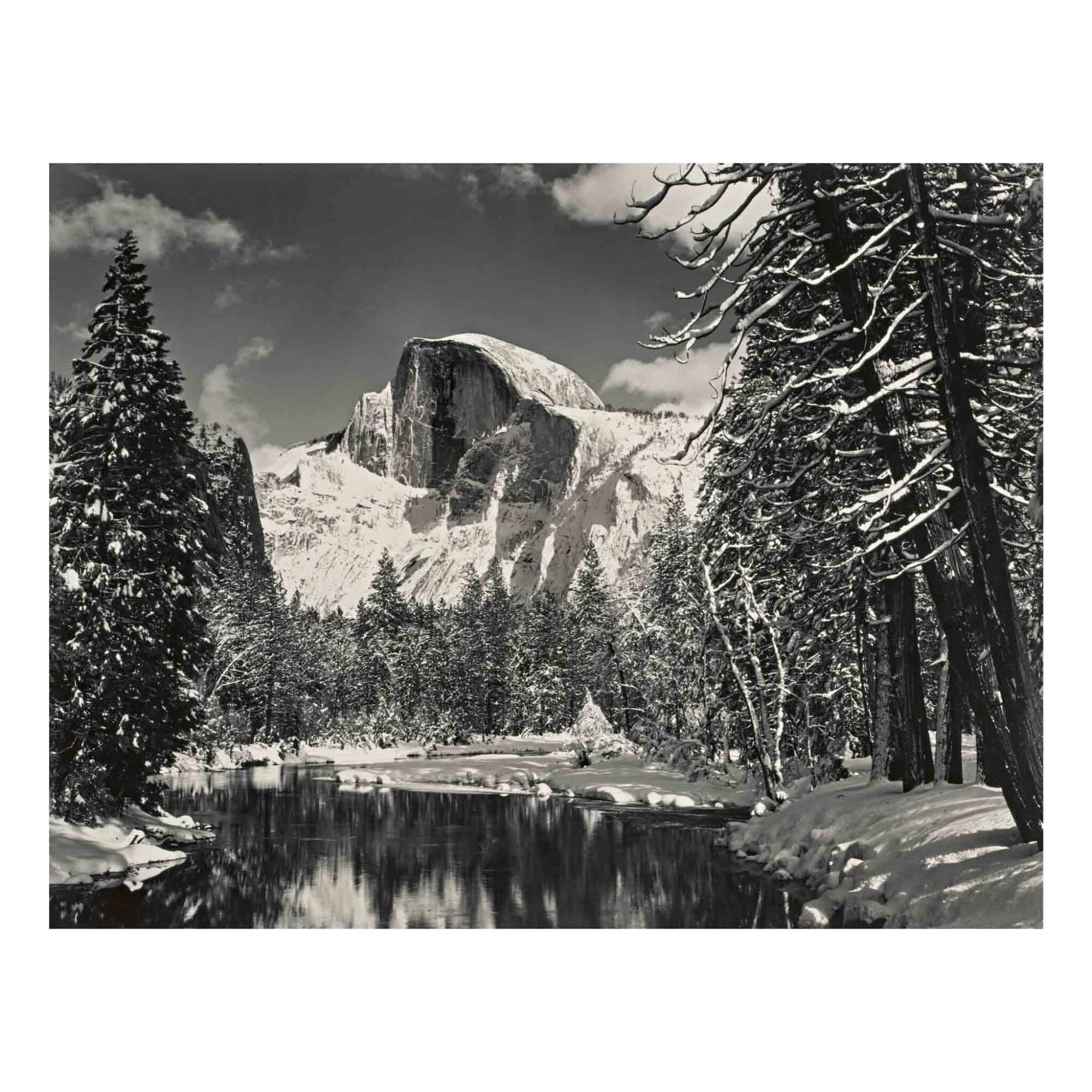 View full screen - View 1 of Lot 38. Half Dome, Merced River, Winter, Yosemite Valley.