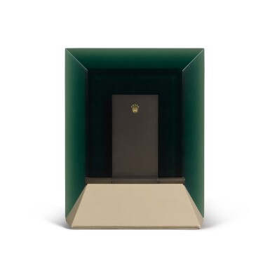 View 3. Thumbnail of Lot 728. GREEN PERSPEX RECTANGULAR MIRROR WITH HINGED STAND.
