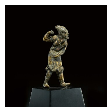View 1. Thumbnail of Lot 581. A SMALL GILT-BRONZE FIGURE OF A SOGDIAN GROOM,  TANG DYNASTY.