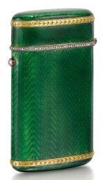 A FABERGÉ JEWELLED GOLD-MOUNTED GUILLOCHÉ ENAMEL ETUI, WORKMASTER AUGUST HOLLMING, ST PETERSBURG, 1899-1908