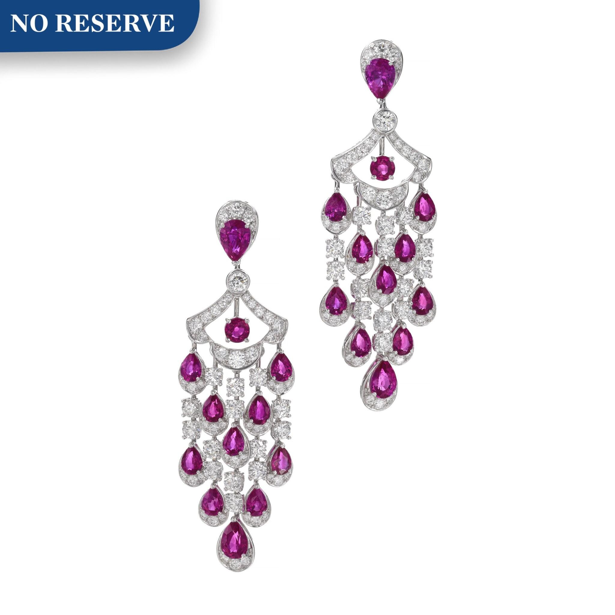 View full screen - View 1 of Lot 651. Graff | Pair of ruby and diamond pendent earrings | 格拉夫 | 紅寶石配鑽石耳墜一對 .