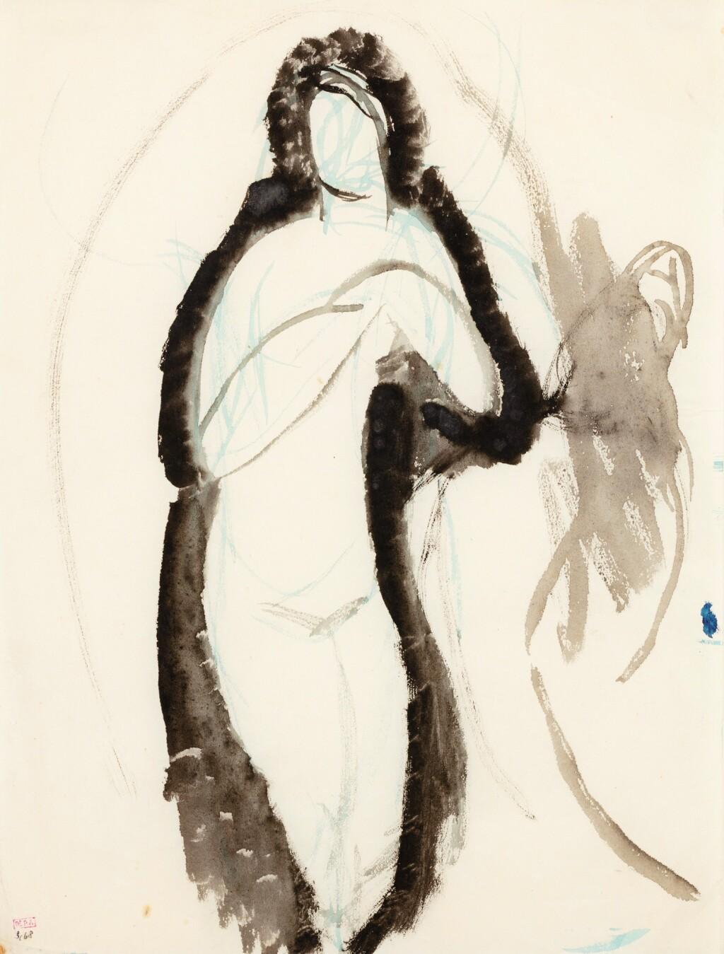 AMEDEO MODIGLIANI | FEMME NUE DEBOUT, LES MAINS JOINTES DEVANT LA POITRINE