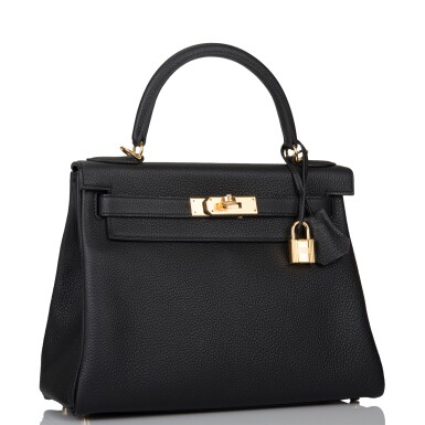 View 2. Thumbnail of Lot 52. HERMÈS   BLACK RETOURNE KELLY 28CM OF TOGO LEATHER WITH GOLD HARDWARE.