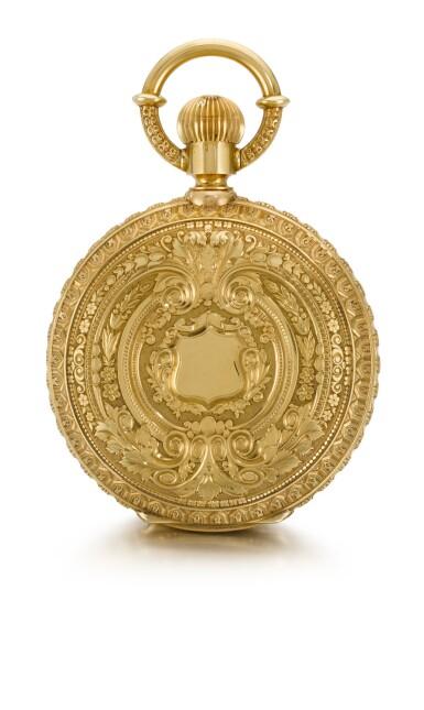 View 3. Thumbnail of Lot 92. GIRARD-PERREGAUX, CHAUX-DE-FONDS [芝柏,拉紹德封] | A RARE AND HEAVY GOLD HUNTING CASED KEYLESS ONE-MINUTE TOURBILLON WATCH WITH PIVOTED DETENT CHRONOMETER ESCAPEMENT,  CIRCA 1890, THREE BRIDGE TOURBILLON [罕有黃金一分鐘陀飛輪懷錶備天文鐘擒縱系統,年份約1890,三橋陀飛輪].