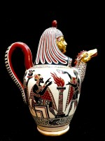 AN EXCEPTIONAL ETRUSCAN AND EGYPTIAN STYLE  EARTHENWARE TABLE SERVICE, BIAGIO GIUSTINIANI FACTORY, NAPLES, CIRCA 1830  | EXCEPTIONNEL SERVICE DE TABLE EN FAÏENCE À DÉCOR ÉTRUSQUE ET ÉGYPTIEN, MANUFACTURE DE BIAGIO GIUSTINIANI, NAPLES, VERS 1830
