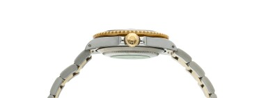 View 4. Thumbnail of Lot 9. Reference 16613 Submariner  A yellow gold and stainless steel wristwatch with date, bracelet and diamond and sapphire-set indexes, Circa 1990 .
