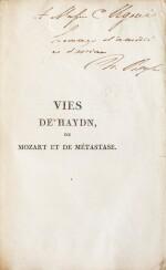 Vies de Haydn... 1817. Broché. Exemplaire tel que paru, avec un envoi autographe à Camillo Ugoni.