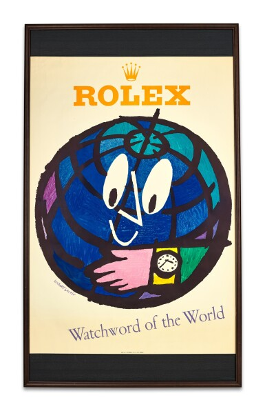 ROLEX AND HERBERT LEUPIN, A LARGE ADVERTISING POSTER PRINTED BY WOLFSBERG-DRUCK, ZURICH, CIRCA 1952