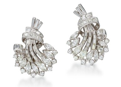View 1. Thumbnail of Lot 1025. PAIR OF DIAMOND EAR CLIPS, 1950s  | 鑽石耳環一對, 1950年代.