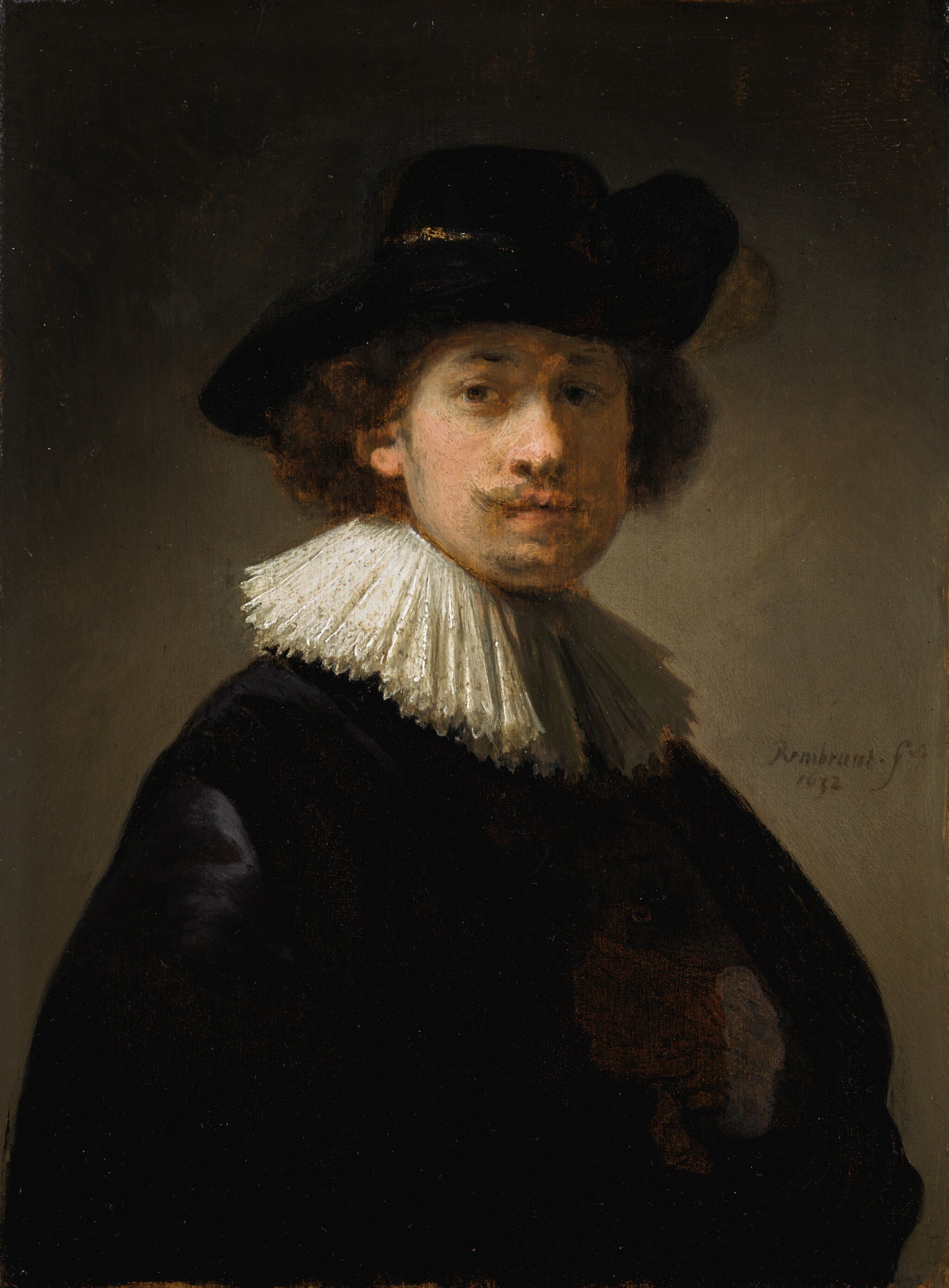 View full screen - View 1 of Lot 12. REMBRANDT HARMENSZ. VAN RIJN  |  SELF-PORTRAIT OF THE ARTIST, HALF-LENGTH, WEARING A RUFF AND A BLACK HAT.