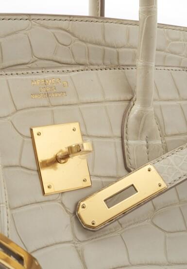 Matte beton alligator and palladium hardware handbag, Birkin 35, Hermès, 2014