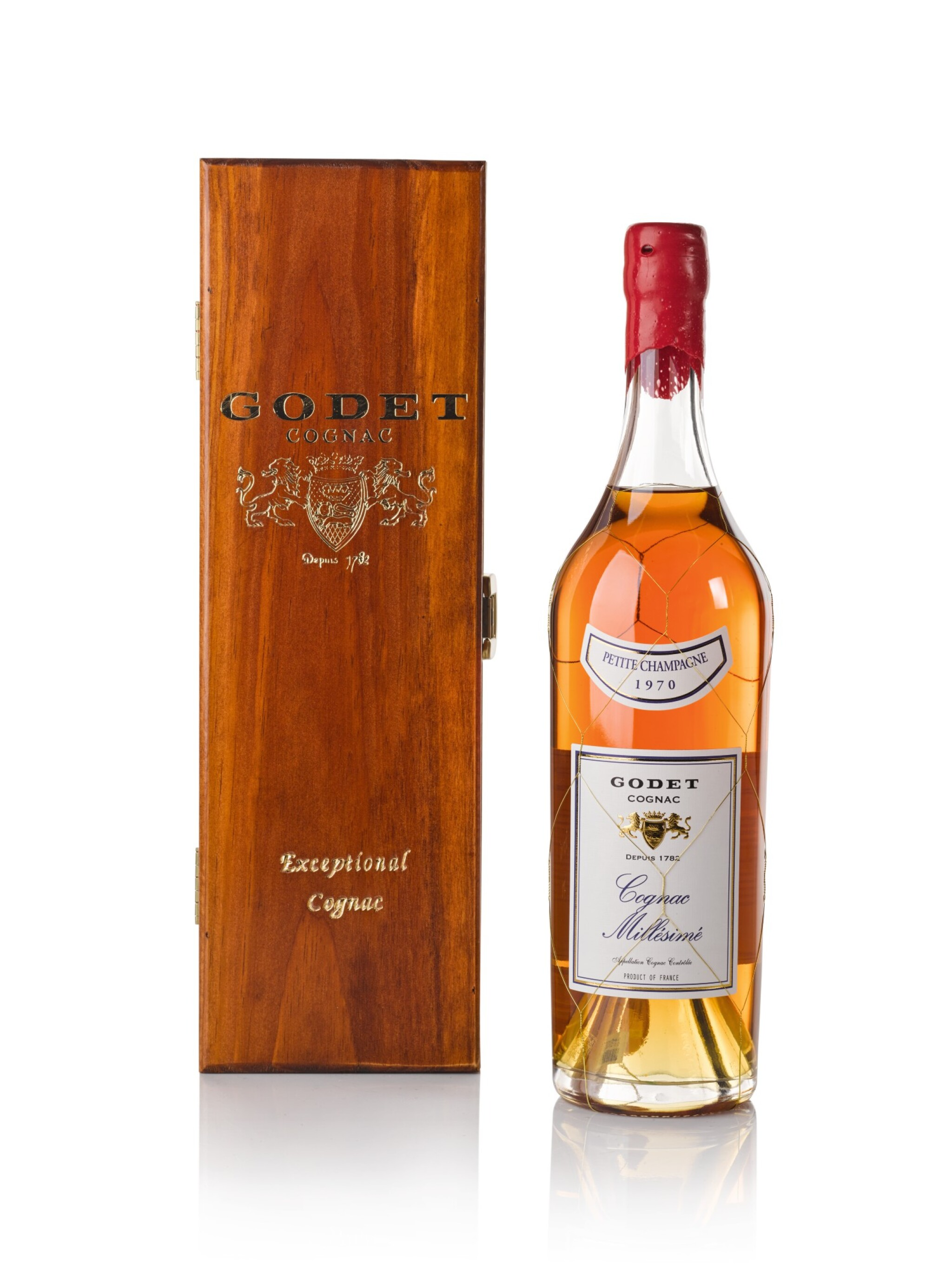 View full screen - View 1 of Lot 123. Godet Cognac Millesime Petite Champage 40.0 abv 1970 .