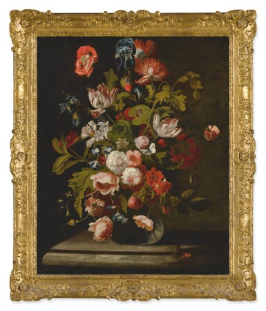 View 2. Thumbnail of Lot 562. SIMON PIETERSZ. VERELST   STILL LIFE OF ROSES, TULIPS, AN IRIS AND OTHER FLOWERS, IN A GLASS VASE, RESTING ON A TABLE.