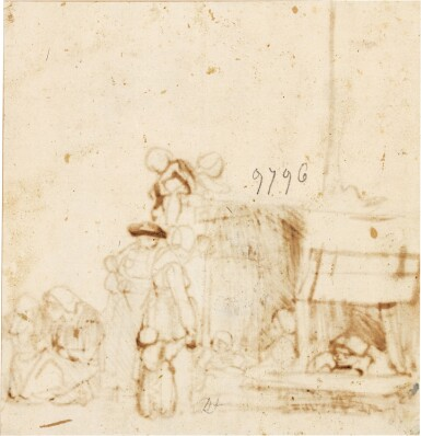 View 3. Thumbnail of Lot 215. ATTRIBUTED TO CAREL FABRITIUS |  PEASANTS GATHERED OUTSIDE A HUT.