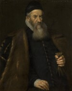 VENETIAN SCHOOL, 1591 | Portrait of a gentleman, three-quarter-length, wearing a black fur-lined cloak and holding a pair of gloves