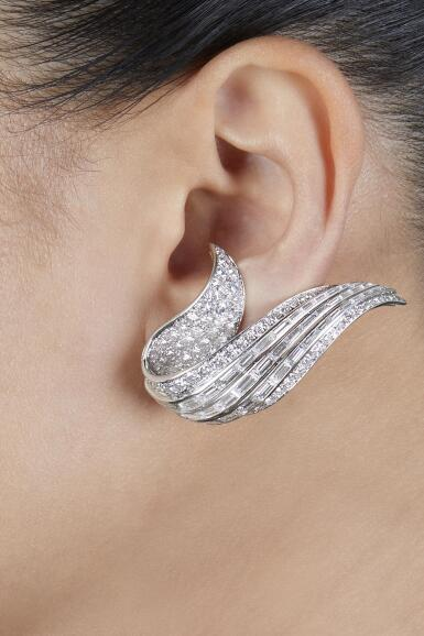 View 2. Thumbnail of Lot 37. Sterlé | Pair of Diamond Earclips, France.