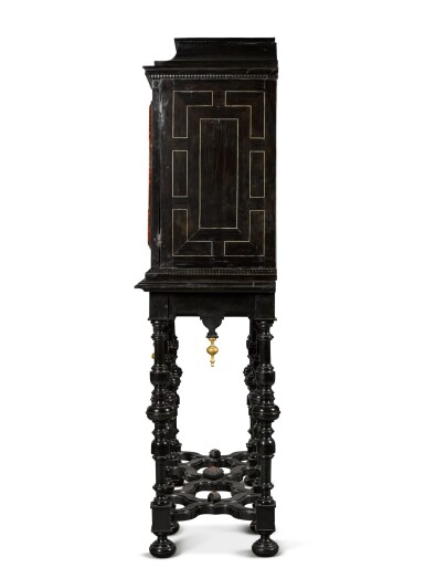 View 5. Thumbnail of Lot 41. A Flemish Baroque gilt-metal mounted ebony, rosewood, tortoiseshell, ivory, inlaid and carved cabinet-on-stand, probably Antwerp, late 17th century.