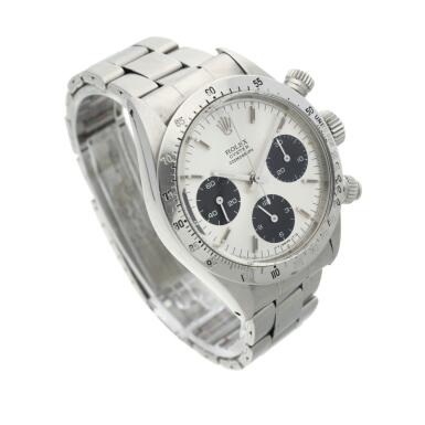 View 3. Thumbnail of Lot 276. Reference 6265 Daytona  A stainless steel chronograph wristwatch with registers and bracelet, circa 1975.