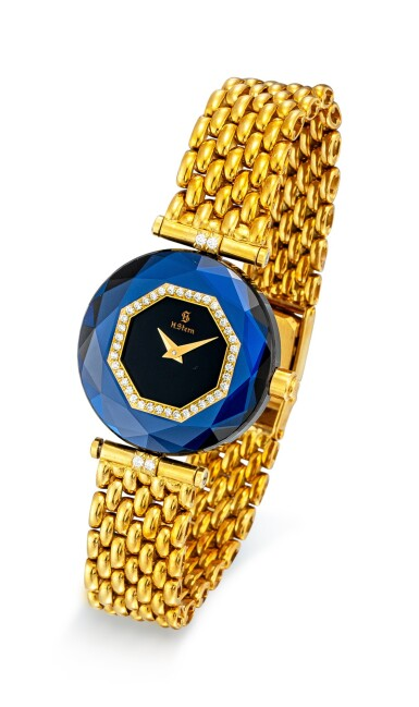 View 4. Thumbnail of Lot 1118. H. STERN | A SET OF TWO YELLOW GOLD, DIAMOND AND SAPPHIRE-SET BRACELET WATCHES, CIRCA 1995.