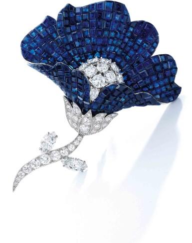 View 2. Thumbnail of Lot 62. Van Cleef & Arpels [梵克雅寶] | Mystery-Set Sapphire and Diamond Brooch [藍寶石配鑽石別針].