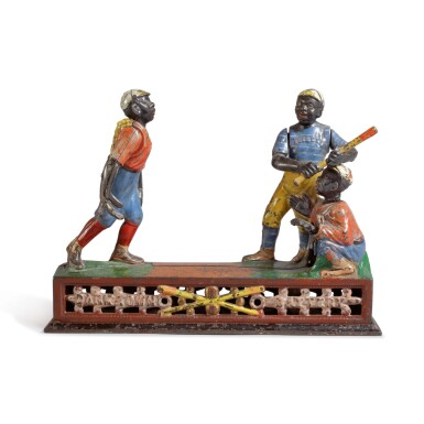 VERY FINE AND RARE CAST METAL AND POLYCHROME PAINT-DECORATED DARKTOWN BATTERY MECHANICAL BANK, J. AND E. STEVENS & CO.,, CROMWELL, CT, CIRCA 1890