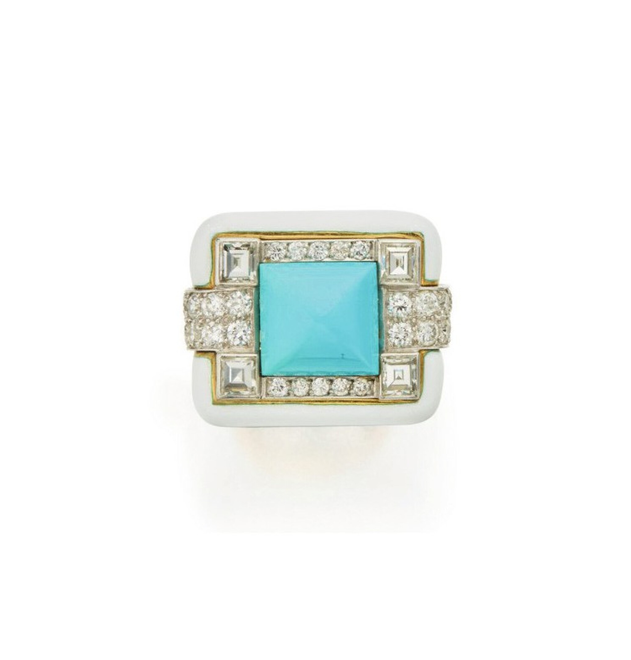 View full screen - View 1 of Lot 4. DAVID WEBB   ENAMEL, TURQUOISE AND DIAMOND RING.