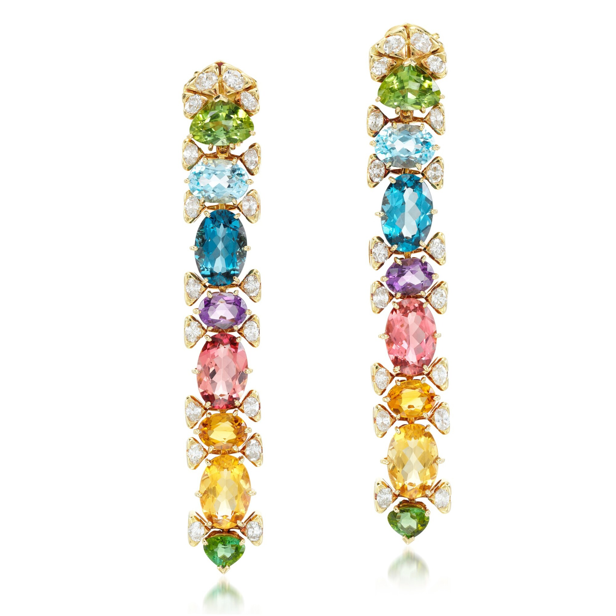 View full screen - View 1 of Lot 102. Marina B | Pair of gem set and diamond earclips.