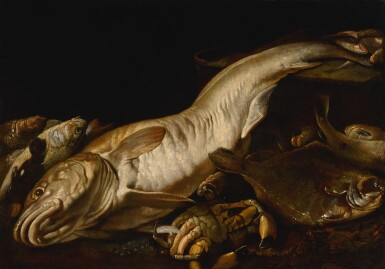 View 1. Thumbnail of Lot 10. ATTRIBUTED TO GIUSEPPE RECCO   STILL LIFE WITH A FORKHEAD HAKE, SEA BASS, CRAB AND OTHER FISH.