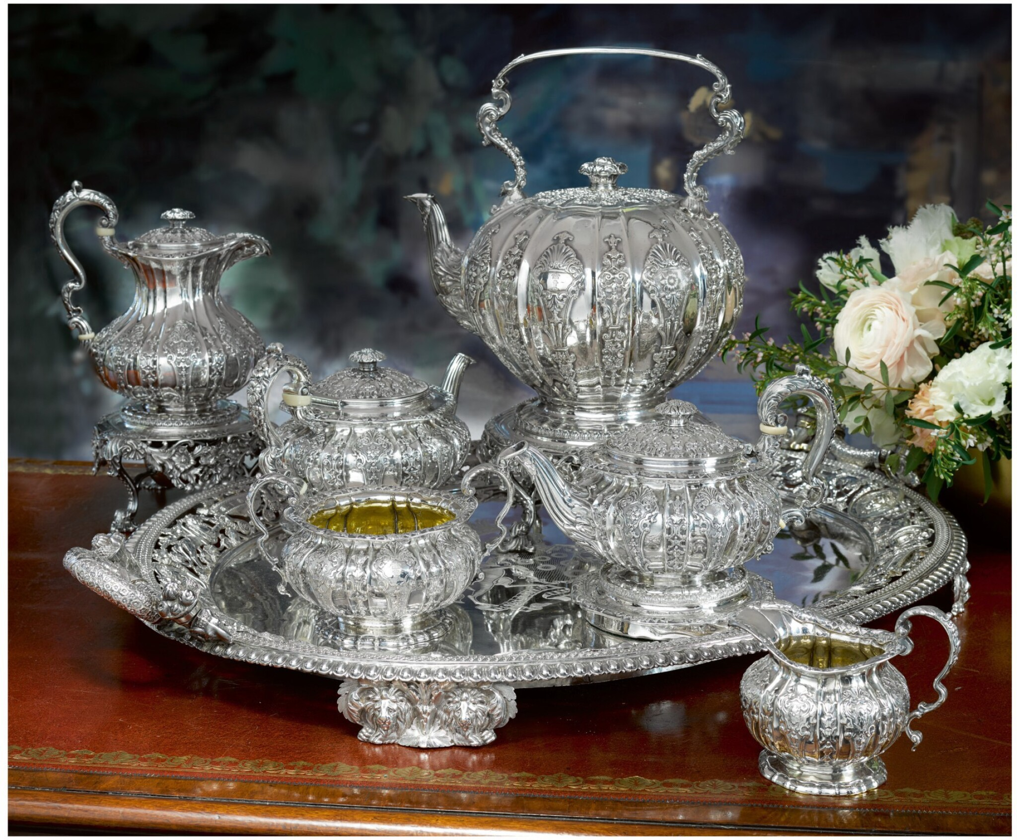 View full screen - View 1 of Lot 9. A GEORGE IV SILVER SIX-PIECE TEA AND COFFEE SERVICE, ROBERT GARRARD, LONDON, 1822-28.