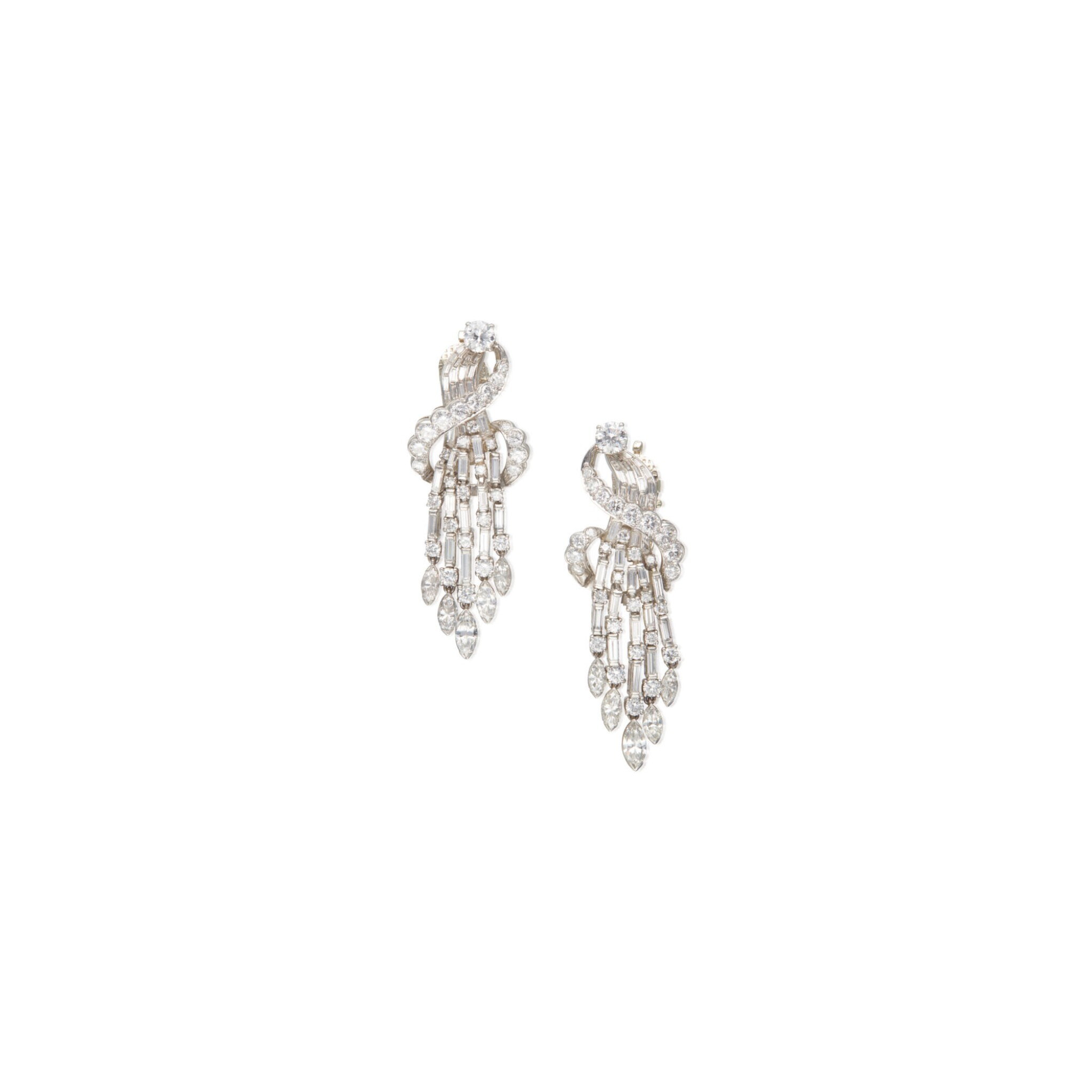 View full screen - View 1 of Lot 14. PAIR OF DIAMOND EARCLIPS.