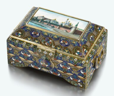 AN IMPORTANT SILVER-GILT, CLOISONNÉ AND PICTORIAL ENAMEL CASKET, FEODOR RÜCKERT, MOSCOW, 1908-1917