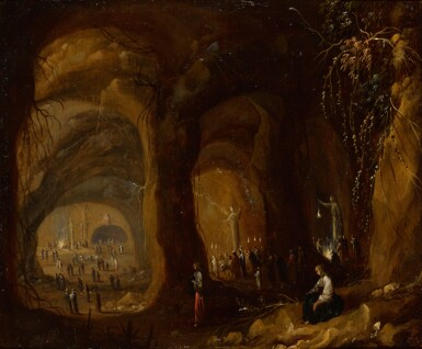 View 1. Thumbnail of Lot 18. ROMBOUT VAN TROYEN | A grotto withfigures worshipping idols.