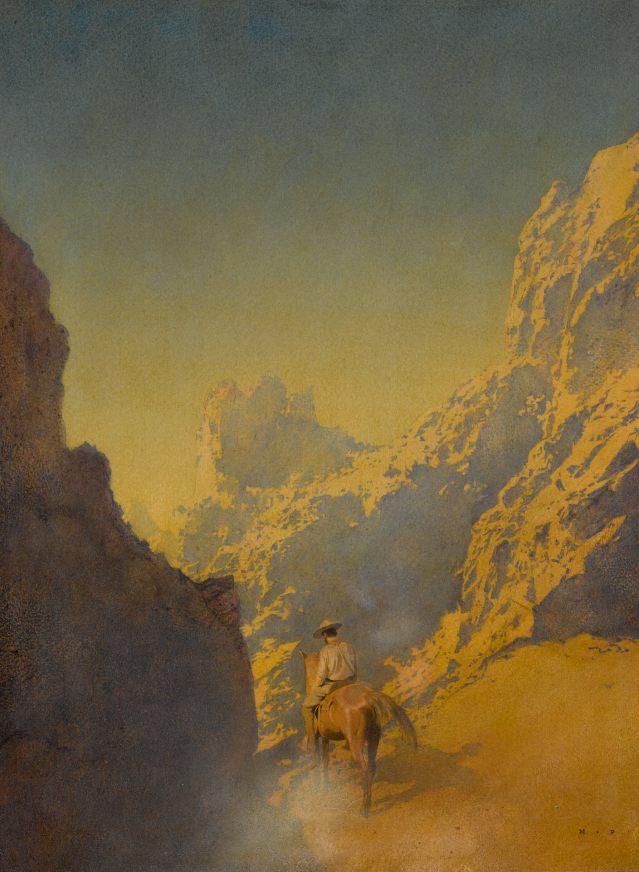 View full screen - View 1 of Lot 22. MAXFIELD PARRISH   THE RAWHIDE PART III, HE SWUNG HIMSELF INTO THE SADDLE AND RODE AWAY.