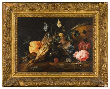 View 2. Thumbnail of Lot 37. Still life with flowers in a glass vase, a lemon, an ear of corn, with a snail and butterflies beside a skull | 《靜物:玻璃瓶花與檸檬、玉米穗、蝸牛和骷髏旁的蝴蝶》.