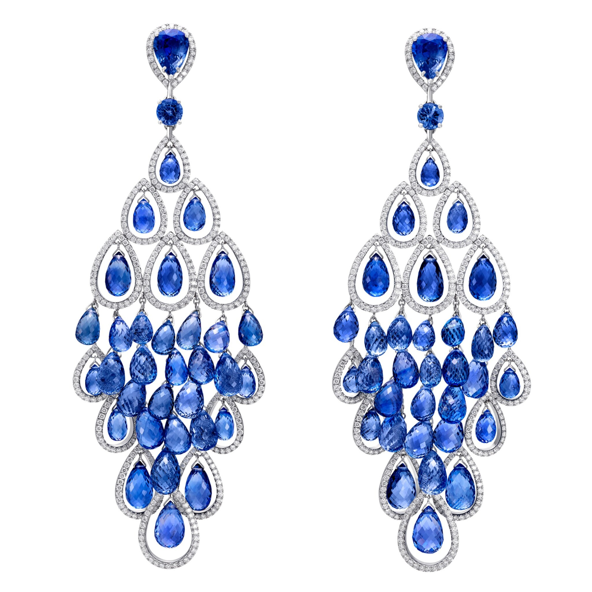 View full screen - View 1 of Lot 88. GRAFF | PAIR OF SAPPHIRE AND DIAMOND PENDENT EARRINGS.