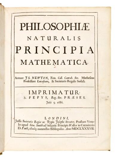 View 1. Thumbnail of Lot 74. Newton, Philosophiae naturalis principia mathematica, London, 1687, contemporary vellum.