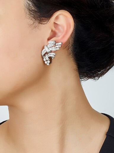 View 4. Thumbnail of Lot 9117. PAIR OF DIAMOND EAR CLIPS | 鑽石耳環一對.