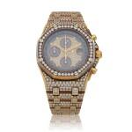 Royal Oak Offshore, Ref. 25894BA Possibly unique yellow gold and diamond-set chronograph wristwatch with date and bracelet Circa 1997 | 愛彼25894BA型號「Royal Oak Offshore」黃金鑲鑽石計時鍊帶腕錶備日期顯示,年份約1997,可能為獨一無二